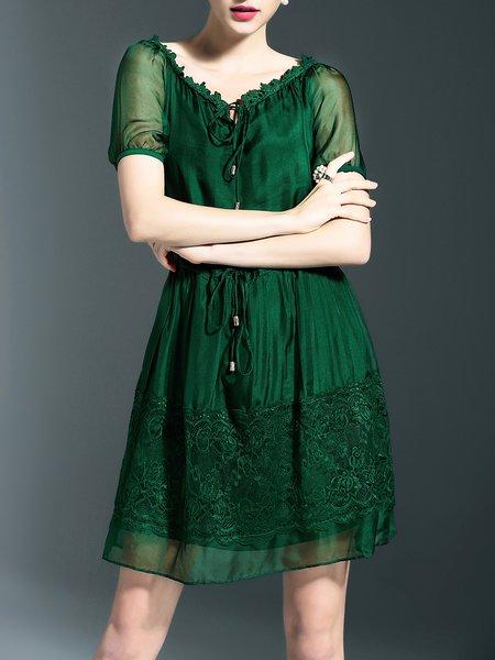 Green boat Neck Casual A-line Midi Dress