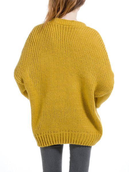Yellow Buttoned Wool Blend Casual Cardigan - StyleWe.com