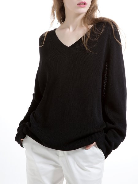 Black Knitted Raglan Sleeve V Neck Sweater