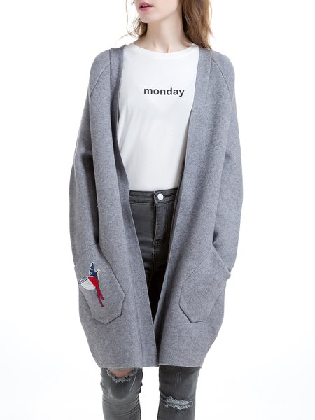 Gray Casual Embroidered Wool Blend Cardigan
