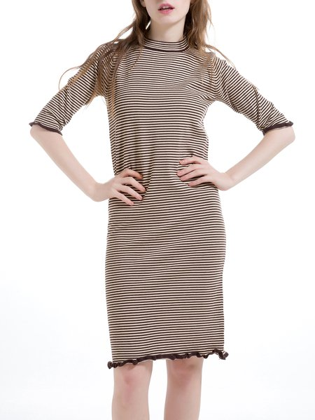 Coffee Ruffled Wool Blend Half Sleeve Stripes Sweater Dress