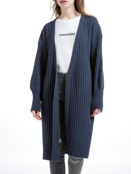Navy Blue Balloon Sleeve Wool Blend Plain Cardigan