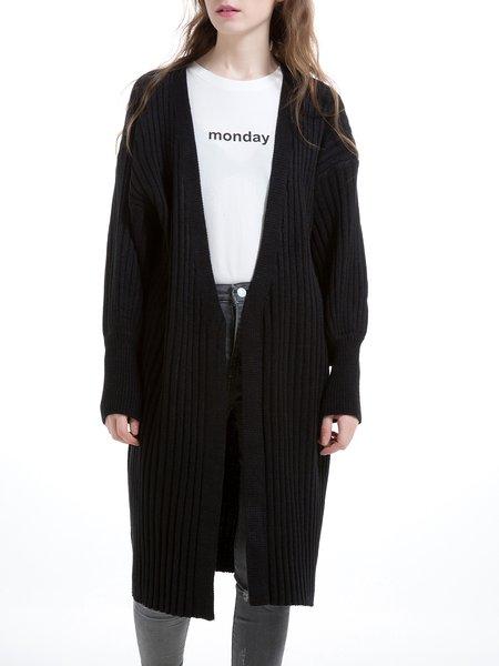 Black Wool Blend Simple H-line Plain Balloon Sleeve Cardigan