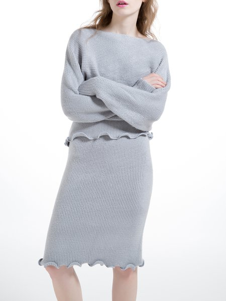Gray Long Sleeve Two Piece Bateau/boat Neck Sweater Dress