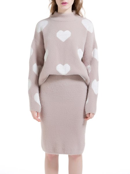 Beige Long Sleeve Two Piece Turtleneck Sweater Dress