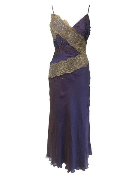 Purple Sequins Ruched Silk-chiffon Spaghetti Evening Dress