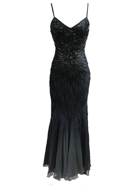 Black Mermaid Beaded Spaghetti Evening Dress