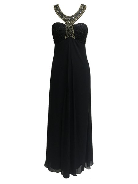 Black Plain Beaded Ruched Backless Evening Dress