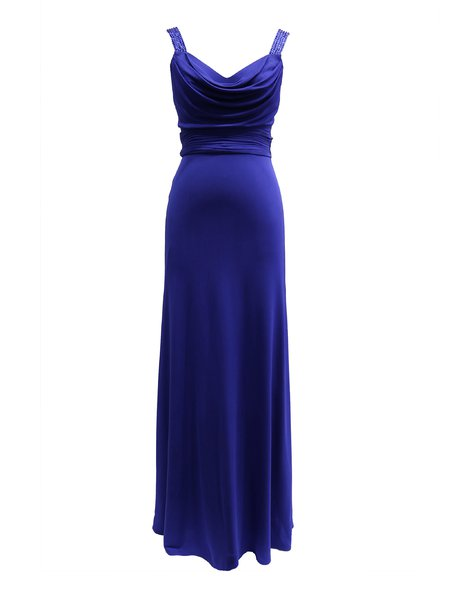 Royal Blue Cowl Neck Backless Rayon Jersey Evening Dress