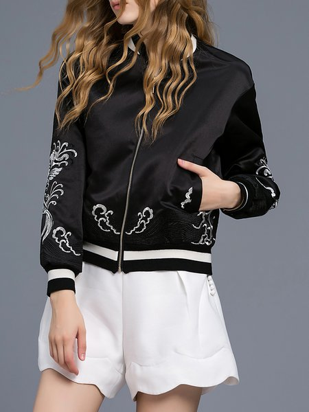 Black Simple Embroidered Stand Collar Bomber Jacket