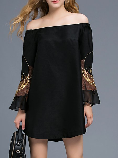 Black Off Shoulder Sexy Flared Sleeve Embroidered Mini Dress