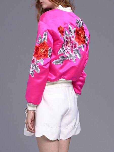 Fuchsia Cotton-blend  Embroidered Pockets Bomber Jacket