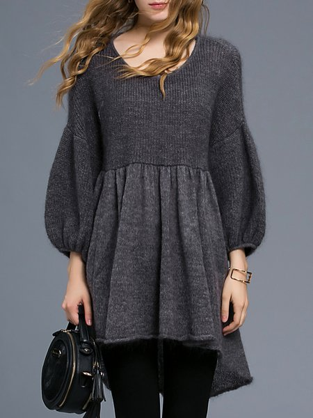 Gray Angora-blend Half Sleeve Crew Neck Tunic
