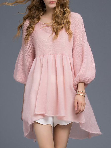 Pink Angora-blend Knitted Sweet Flared Sleeve Tunic