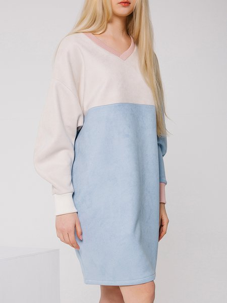 White Suede Color-block Long Sleeve Shift Midi Dress