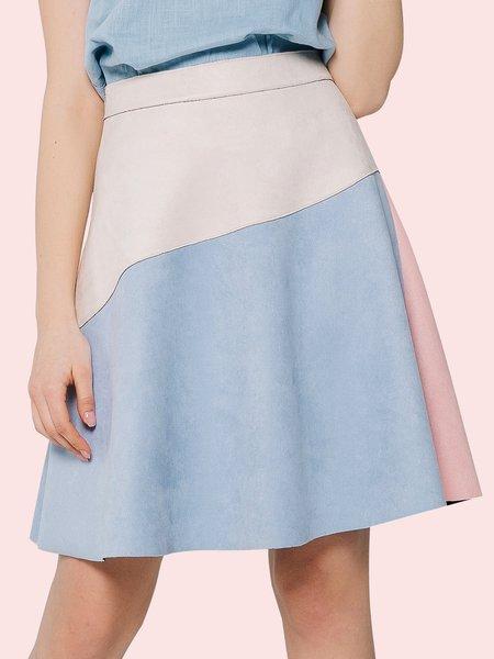 Multicolor Color-block Suede Simple A-line Midi Skirt
