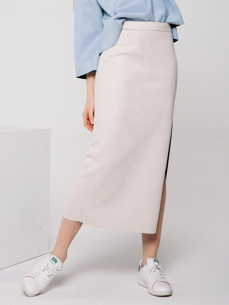 White Slit Sexy H-line Suede Midi Skirt