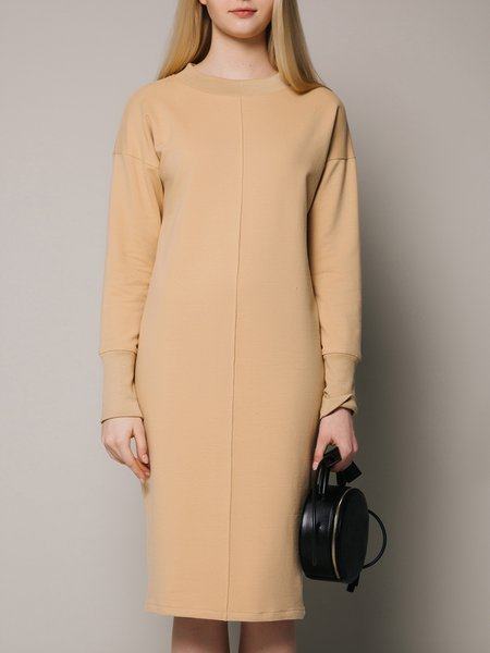 Khaki Long Sleeve Simple H-line Midi Dress