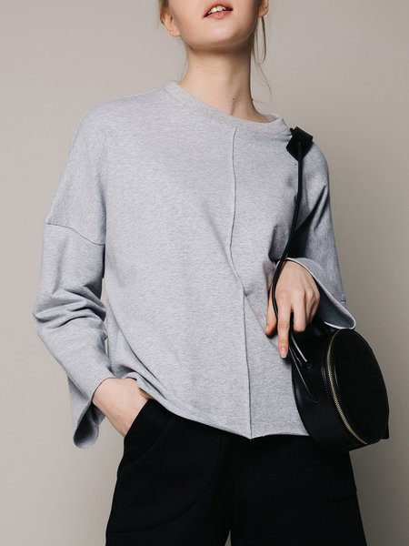 Light Gray Simple Cotton-blend Plain Long Sleeved Top