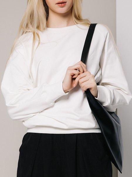 White Long Sleeve Plain Crew Neck Sweatshirt