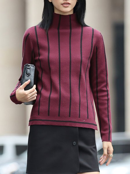High Low Casual Turtleneck Long Sleeved Top