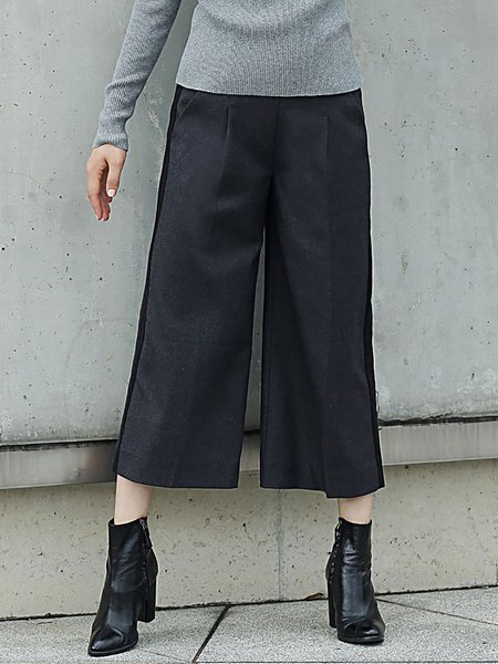 Deep Gray Work Pockets Polyester Wide Leg Pants