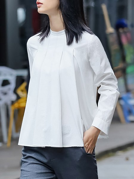 Beige Long Sleeve Simple Pleated Blouse