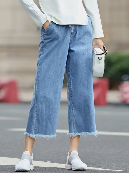 Blue Ripped Pockets Plain Denim Simple Wide Leg Pants