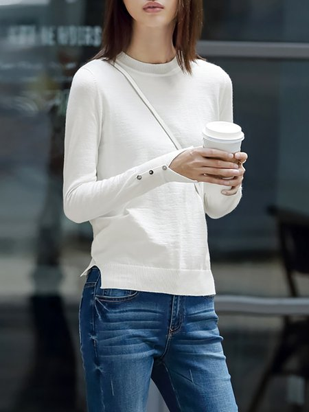 Basic Wool Blend Solid Buttoned Sweater
