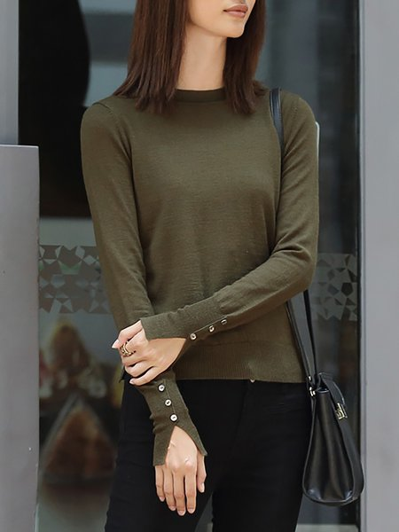 Army Green Wool Blend Simple Plain Sweater