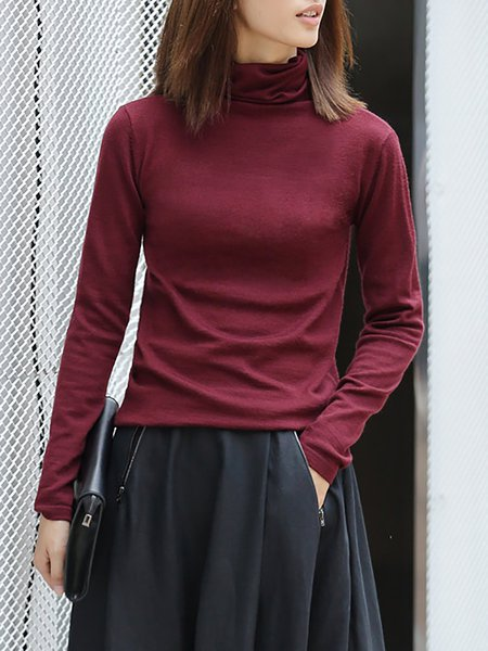 Wine Red Turtleneck Knitted Simple Sweater
