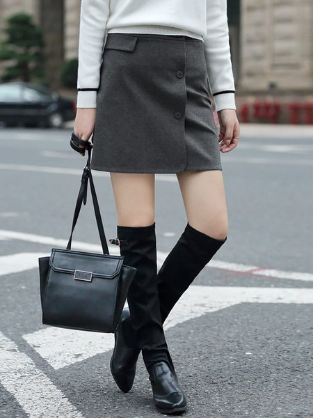 Deep Gray A-line Plain Buttoned Simple Mini Skirt