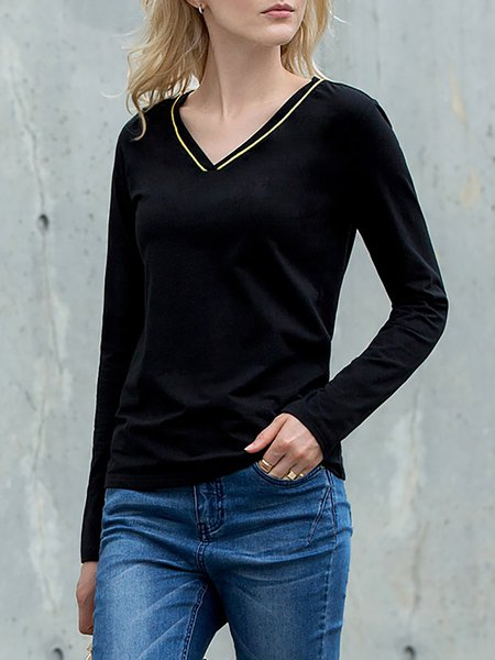 Black V Neck Cotton-blend Simple Plain Long Sleeved Top