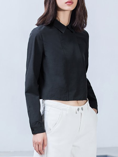 Black Shirt Collar Plain Simple Long Sleeve Cropped Top