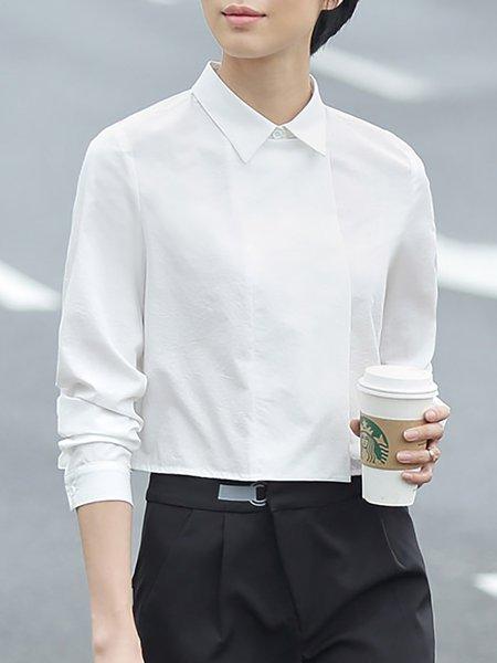 White Plain Simple Shirt Collar Asymmetric Cropped Top