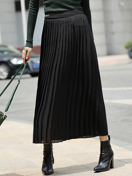 Black Pleated Plain A-line Simple Midi Skirt