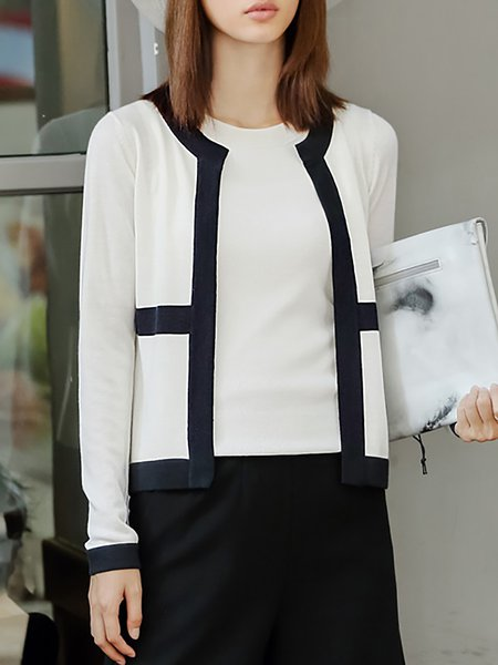White Color-block Simple Polyester Cardigan