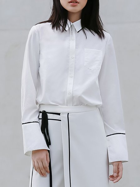 White Plain Shirt Collar Work Blouse