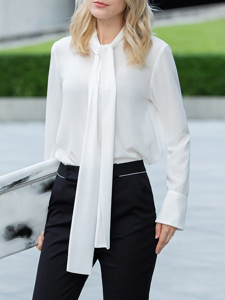 White Work Plain Tie Stand Collar Blouse