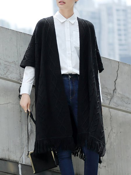 Black Plain Wool Blend Fringed Casual Cape