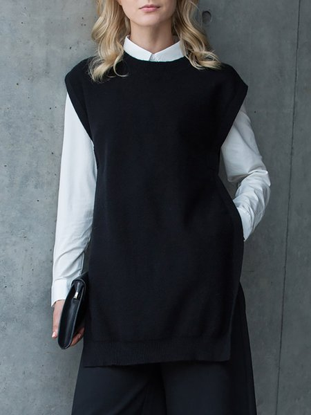 Black Sleeveless Plain Viscose Slit Sweater