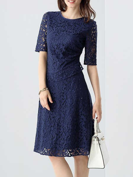 Navy Blue Pierced Half Sleeve Party Dress