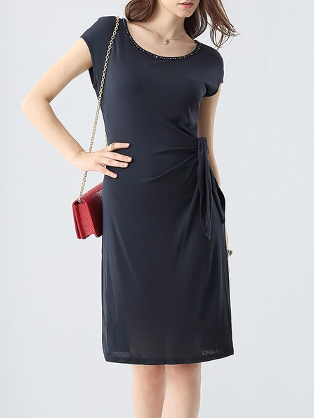 Navy Blue Crew Neck Short Sleeve Midi Dress