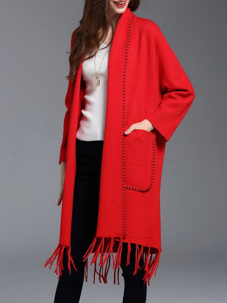 H-line Wool Blend Casual Long Sleeve Plain Cardigan