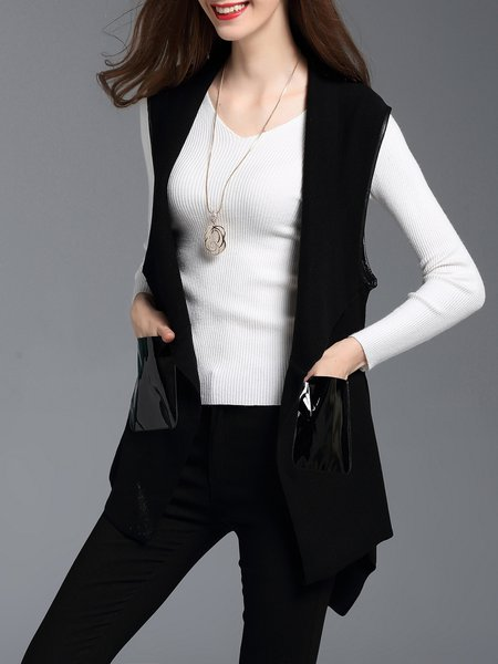 Lapel Knitted Sleeveless Plain Work Vest