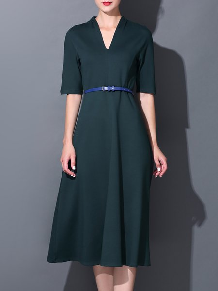 Dark Green Plain Casual Midi Dress with Belt
