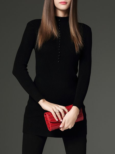 Black Cotton-blend Knitted Long Sleeve Sweater