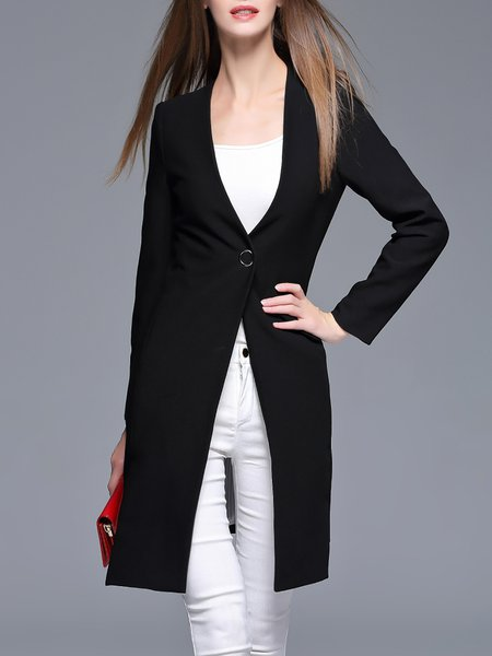 Black Long Sleeve Symmetric Plunging Neck Blazer