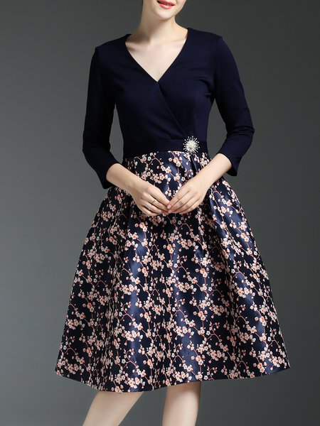 V Neck Casual Floral Printed 3/4 Sleeve Midi Dress