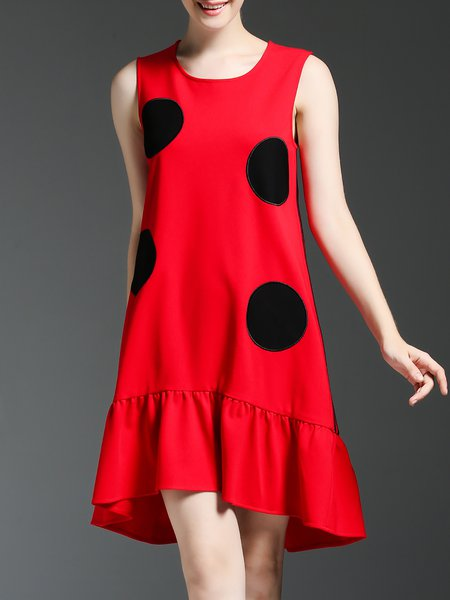 Red Sleeveless Flounce Polka Dots Crew Neck Midi Dress